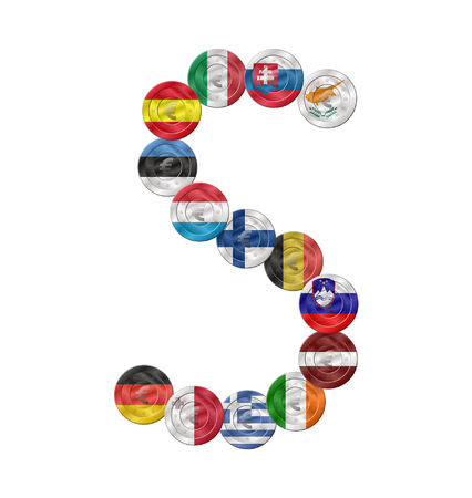 s letter design created with euro coin with flags