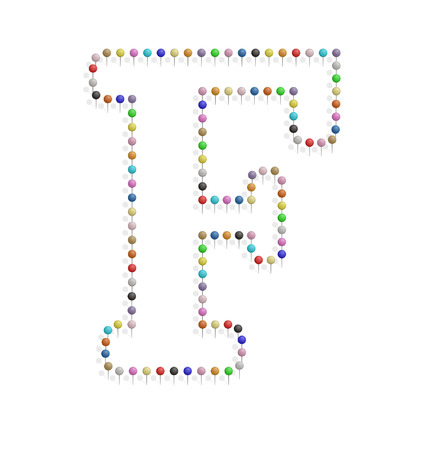 illustration of f letter created with pushpin  Vector