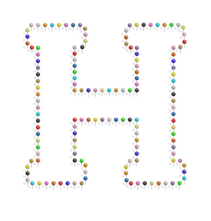 illustration of h letter created with pushpin  Vector