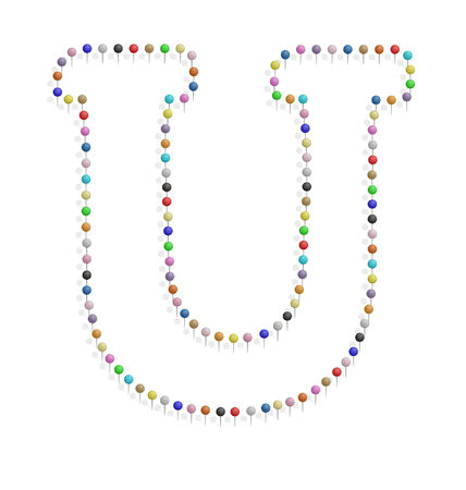 illustration of u letter created with pushpin  Vector