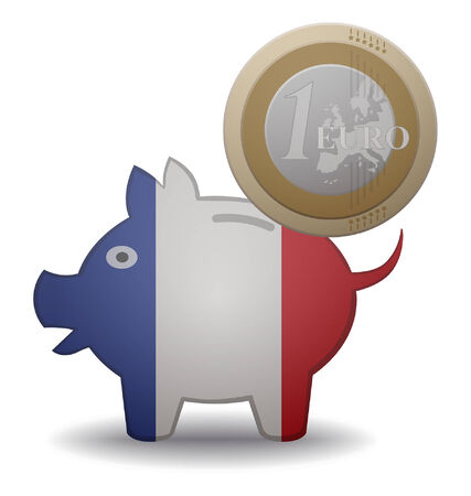 illustration of a euro coin going into a piggy bank with the flag of france