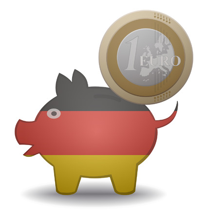 illustration of a euro coin going into a piggy bank with the flag of germany Illustration