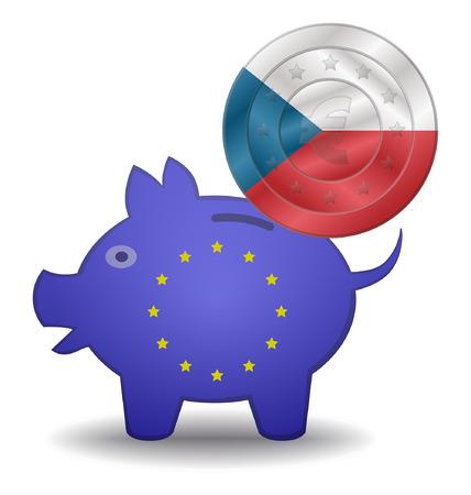 czech republic coin: illustration of a European piggy bank and euro coin czech Illustration