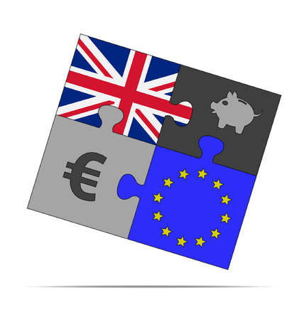 four pieces of puzzle on the euro and europe uk  Vector