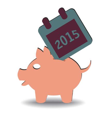 illustration of calendar 2015 entering a piggy bank