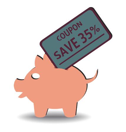 buono sconto: illustrazione di un coupon di sconto inserendo in un salvadanaio
