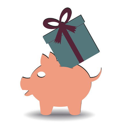 illustration of a gift entering a piggy bank  Vector