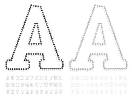 illustration of a letter and number created with pushpin black and white Vector