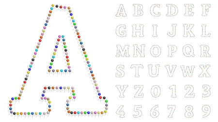 illustration of a letter and number created with pushpin color Vector