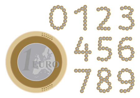 euro coins: numbers illustrations created with one euro coins Illustration