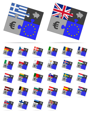 four pieces of puzzle on the euro and europe Vector