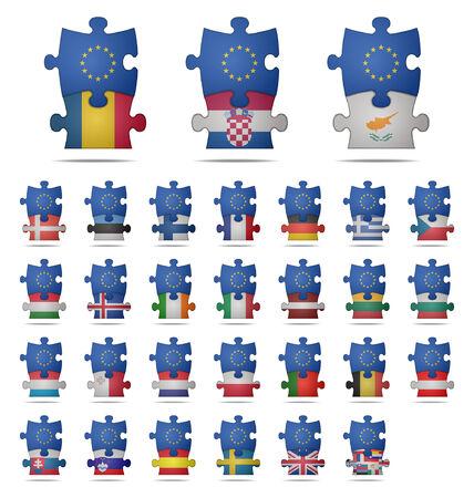 design a puzzle pieces flag europe Vector