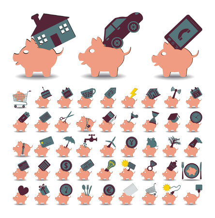 illustration set 48 icons piggy bank and savings Vector