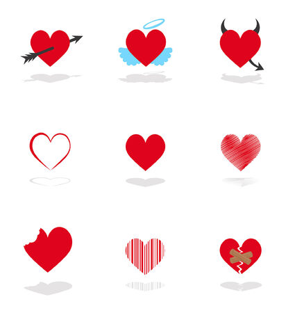 design of set 9 hearts icons Vector