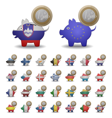 set illustrations of a euro coin piggy banks entering countries Vector