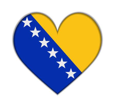 herzegovina: Bosnia and Herzegovina heart flag vector illustration
