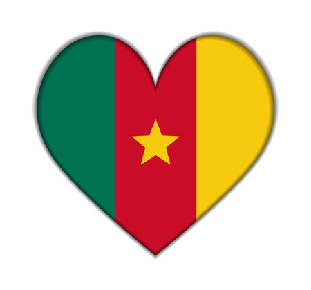 Cameroon heart flag vector illustration
