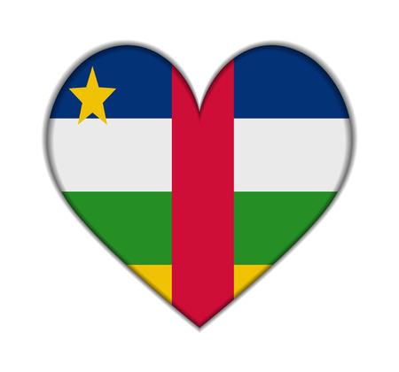 central african republic: Central African Republic heart flag vector illustration
