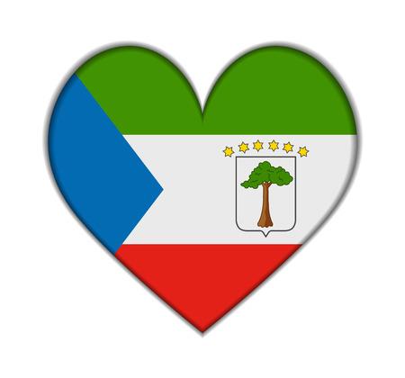 guinea equatoriale: Guinea Equatoriale cuore bandiera vettoriale illustrazione