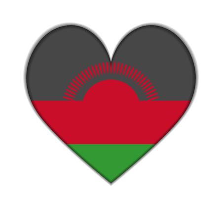 malawi: Malawi heart flag vector illustration