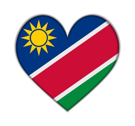 Namibia heart flag vector illustration