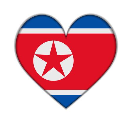 North Korea heart flag vector illustration Vector