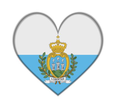 marino: San Marino heart flag vector illustration Illustration