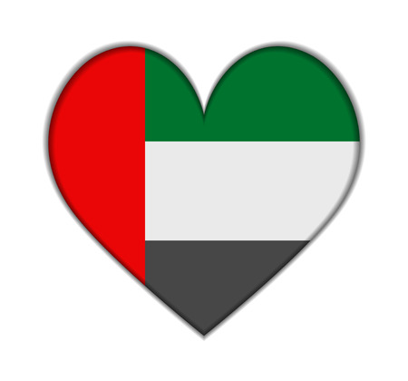United Arab Emirates heart flag vector illustration Illustration