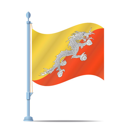 bhutan: Vlag van Bhutan vector illustratie Stock Illustratie