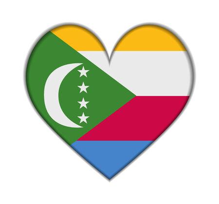 comoros: Comoros heart flag vector illustration Illustration