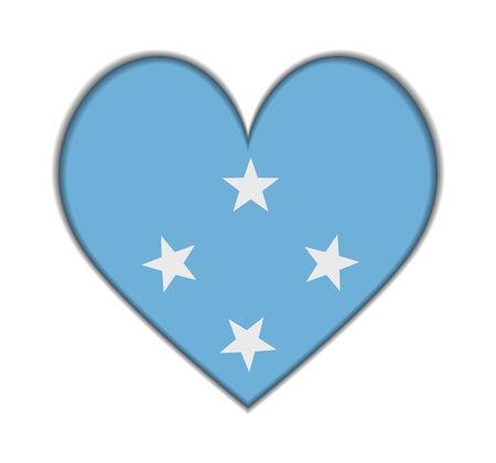 micronesia: F.S. Micronesia heart flag vector illustration