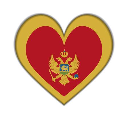 Montenegro heart flag vector illustration Vector