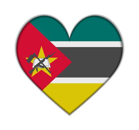 Mozambique: Mozambique heart flag vector illustration Illustration