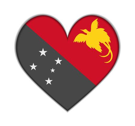 Nuova Guinea: Papua Nuova Guinea cuore bandiera vettoriale illustrazione