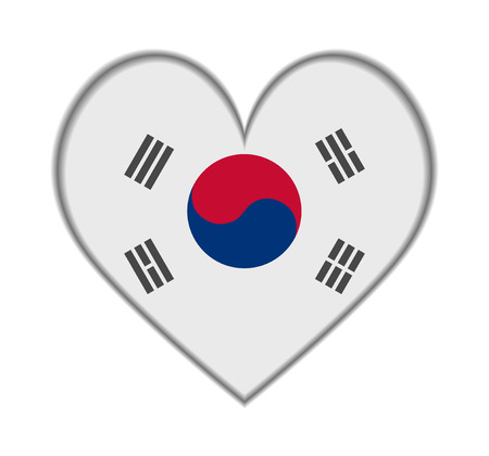 South Korea heart flag vector illustration Vector