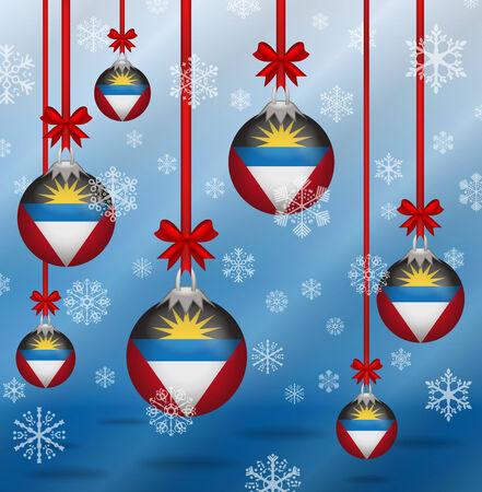 antigua and barbuda: Ilustration Christmas background flags Antigua and Barbuda Illustration