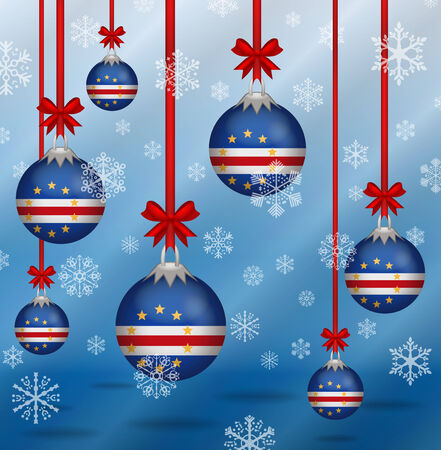 cape verde: Ilustration Christmas background flags Cape Verde Illustration