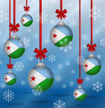 Ilustration Christmas background flags Djibouti