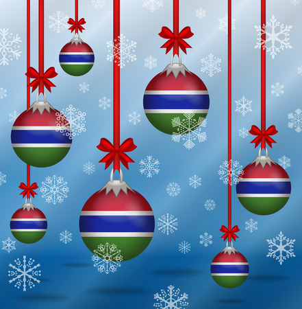 Ilustration Christmas background flags Gambia Illustration