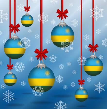 rwanda: Ilustration Christmas background flags Rwanda