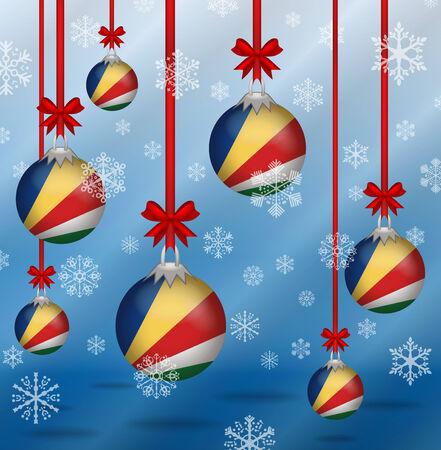 seychelles: Ilustration Christmas background flags Seychelles