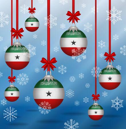 somaliland: Ilustration Christmas background flags Somaliland
