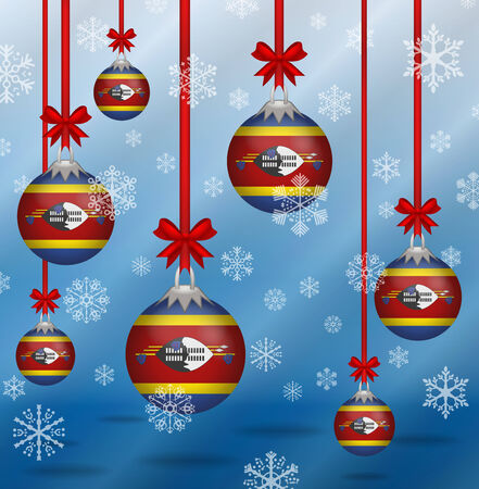 swaziland: Ilustration Christmas background flags Swaziland Illustration