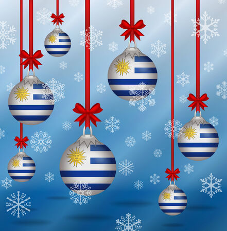 uruguay: Ilustration Christmas background flags Uruguay Illustration