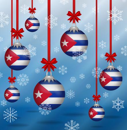 Ilustration Christmas background flags Cuba  イラスト・ベクター素材