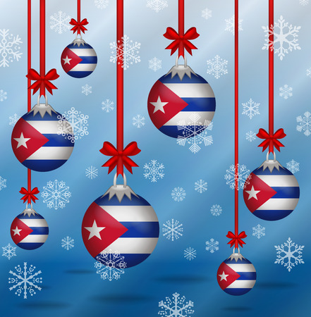 Ilustration Christmas background flags Cuba Ilustrace