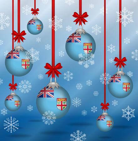 fiji: Ilustration Kerst achtergrond vlaggen Fiji