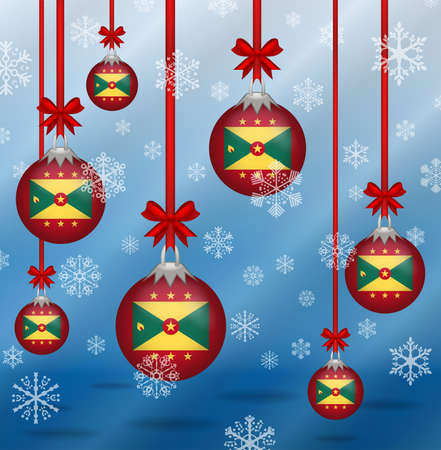 grenada: Ilustration Christmas background flags Grenada
