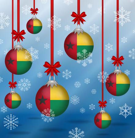 guinea bissau: Ilustration Christmas background flags Guinea Bissau