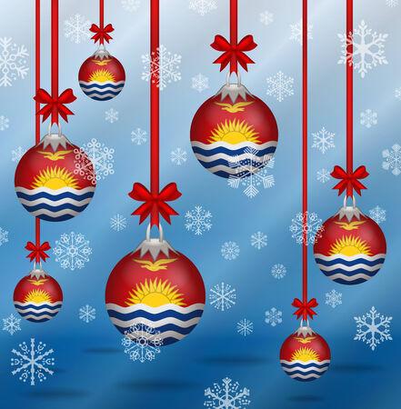kiribati: Ilustration Christmas background flags Kiribati Illustration